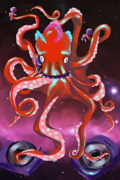 "Digital Painting Final, ""Intergalactic Cephalopod,"" 2016. Program Used: Corel Painter."