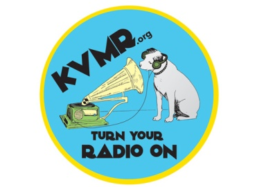 Design for KVMR, Bumper Sticker, 2015. Program Used: Illustrator and hand-drawn illustrations. Notes: This sticker, used as a promotional item, is found on the cars of KVMR listeners far and wide.